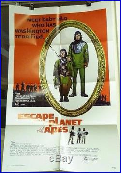Vtg 1971 Escape From Planet Of The Apes Us Orig 1sh 27x41 Movie Poster Taylor