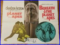 Vtg 1971 NSS Planet Of The Apes / Beneath The Planet Of Poster 27 x 41