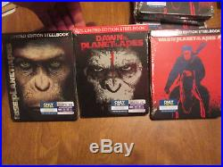 War, Rise & Dawn Of The Planet Of The Apes Blu-ray, Digital Steelbook Set Complete
